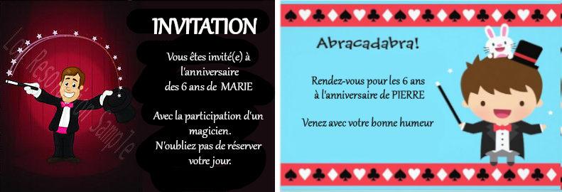 carton invitation anniversaire d'enfants